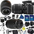 Nikon D5200 Camera with 18-55mm VR Bundle + 70-300mm G Zoom + 2pcs 16GB Memory Card + Case + Reader + Tripod + Starter Kit + Wide Angle + Telephoto + Flash + Filter - International Version