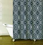 Luxury 100% Cotton Fabric Shower Curtain Scroll Medallion Navy Blue on White 72 x 72""