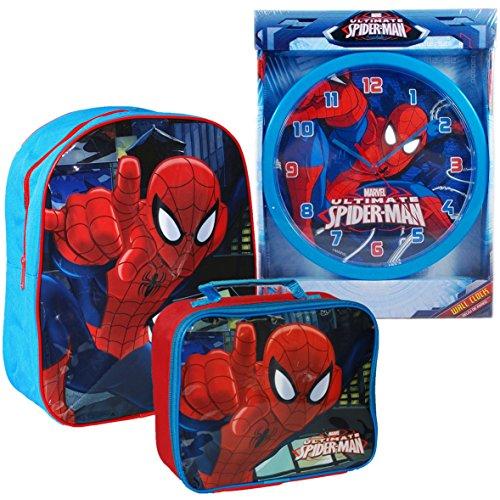 Ufficiale Marvel® Ultimate Spider-Man Spiderman Bambini Scuola Borsa Zaino, Borsa da viaggio e orologio da parete Set