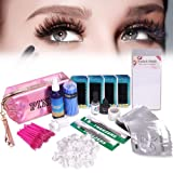 Full Professional Eyelash Extension Kit, TopDirect C Curl Eyelahes False Lashes Strip Graft Glue Lint-Free Under Patch Pad Tweezers Cleansing Lotion Tools Case Bag Set (Tamaño: 15 Pcs)
