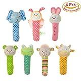 4 Pcs Baby Stick Rattle Toy Pram Crib Activity Soft Toys Xmas Gift