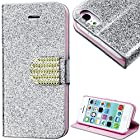 myLife (TM) Silver and Pink {Sparkly Glitter and Bling Buckle Design} Faux Leather (Card, Cash and ID Holder + Magnetic Closing) Slim Wallet for the iPhone 5C Smartphone by Apple (External Textured Synthetic Leather with Magnetic Clip + Internal Secure Snap In Hard Rubberized Bumper Holder)