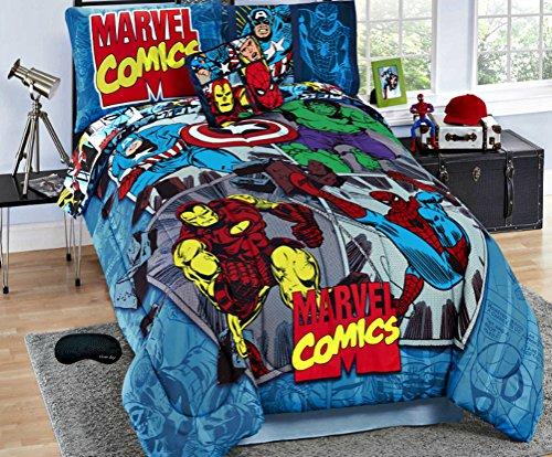 New! Full Marvel Comics Iron Man, Hulk, Captain America, Spiderman Comforter, Sheets, Sham, Toss