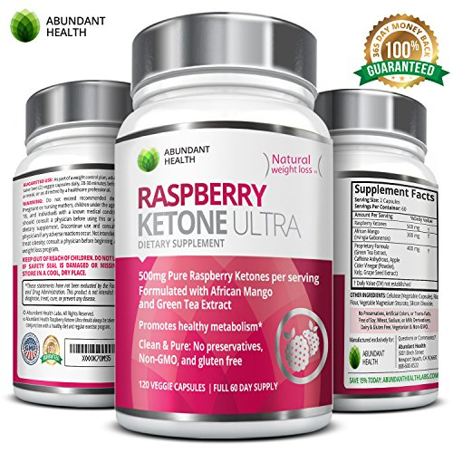 Raspberry Ketone ULTRA - 500MG Pure Raspberry Ketones per Serving with African Mango and Green Tea Extract for Weight Loss Maximum Strength Blend - No Fillers or Binders Non-Stimulating Dietary Supplement - 120 Vegetarian Capsules - Full 60 Day Supply - Manufactured in the USA in an FDA Approved GMP Certified Laboratory exclusively for Abundant Health (Wow Green Coffee compare prices)