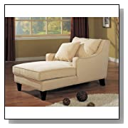 Microfiber Chaise Lounge Sofa Light Beige