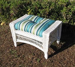 Outdoor Wicker Ottoman, White, No Cushion