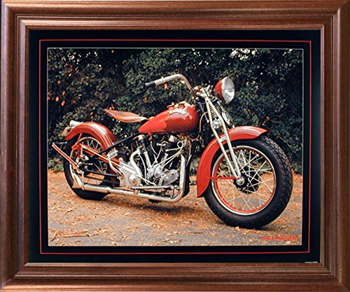 1940 Crocker Buck Lovell Vintage Motorcycle Mahogany Framed Picture Wall Art Print (18x22) 0
