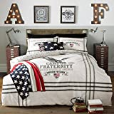American Freshman Double 52 Percent Polyester/48 Percent Cotton Eagle Bed Set, Charcoal
