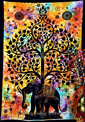 Handicrunch Indian Psychedelic Celestial Elephant Tree Of Life Tapestry ,Good Luck Hand Tie Dye Elephant Tapestry , Hippie Gypsy Wall Hanging , Bhoemain Bed Spread Tapestries , New Age Dorm Tapestry, Bohemain Dorm Decor Elephant Tapestry,