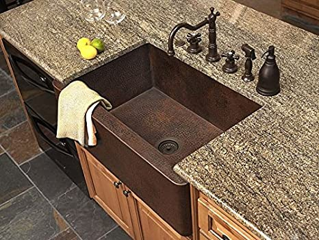 "36"" Copper Farmhouse Sink - Fernanda Single Well Sink"
