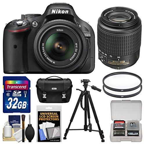 Nikon D5200 Digital Slr Camera (Black) & 18-55Mm Vr & 55-200Mm Dx Af-S Zoom Lens With 32Gb Card + Case + Tripod + Accessory Kit