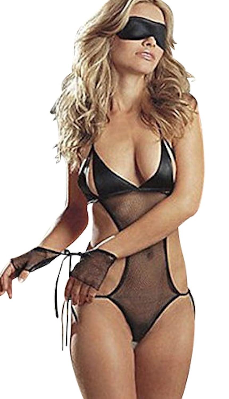 Durchschauen Schwarz Stoff und Spitze Sexy/Reizvolle Negligee Babydoll Teddy mit Handschellen und Augenbinde Bis Größe 42 online kaufen