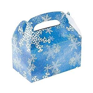 1 Dozen Winter Snowflake Treat Gift Boxes - Christmas Party Supplies from FX