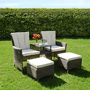 Bordeaux 3 pc companion love seat wicker rattan garden for Garden love seat uk