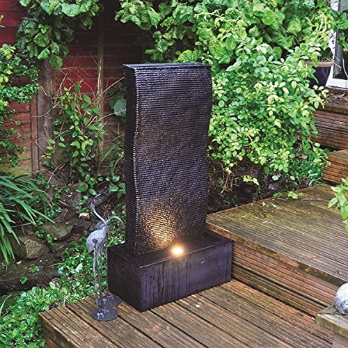 Tall ripple effect garden water feature fountain with led for Garden design amazon
