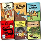 Herge The Adventures of Tintin Collection Herge 6 Books Set (The Broken Ear, The Blue Lotus, Cigars of the Pharoah, Tintin in America, The Black Island, King Ottokar's Sceptre)