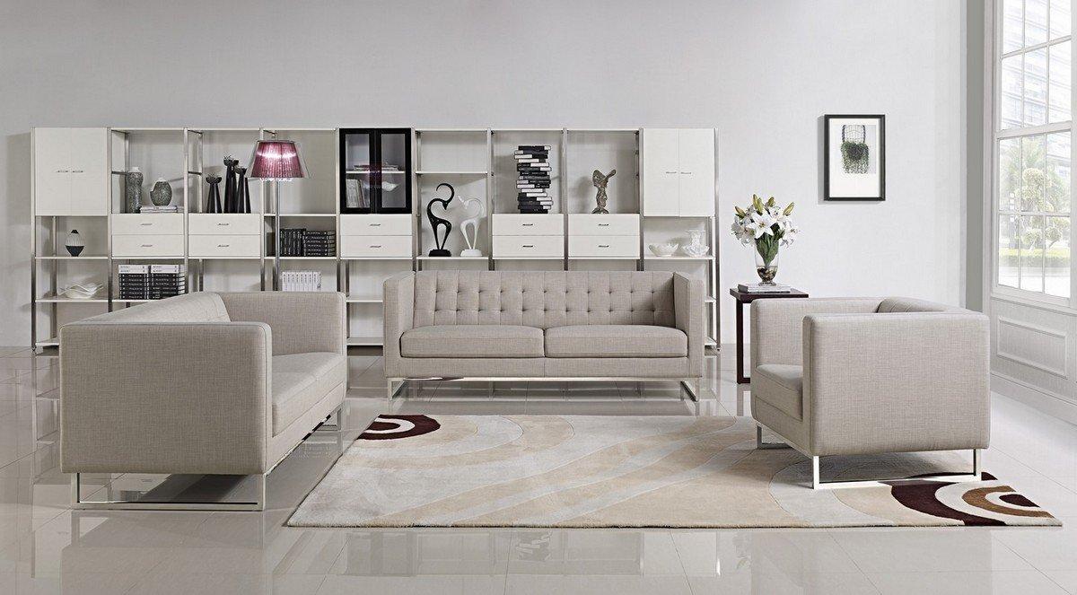 Divani Casa Dominic Modern Grey Fabric Sofa Set