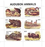 Animales Audubon - 6 sellos de menta en una hoja miniatura que ofrece animales en el desierto. Incluye Muskrat, Marta de pino, Ocelot y Muscox