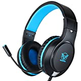 Gaming Headset for Xbox One, PS4,Nintendo Switch, Bass Surround and Noise Cancelling with Flexible Mic, 3.5mm Wired Adjustable Soft Over-Ear Headphones for Laptop PC Mac iPad Smartphones (Color: Blue-Black)