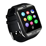 Smart Watch,Anti-Lost Touch Screen Bluetooth SmartWatch,Health Tracking,Pedometer Analysis, Sedentary Reminder, Sleep Monitoring,Prevent Sweat, TF/SIM Card Slot for Android and iso Phones- Black… (Color: blackA)