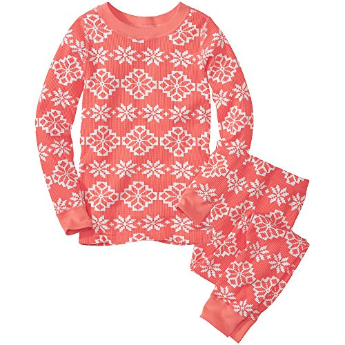 Hanna Andersson Little Girl Thermal Long John Pajamas In Organic Cotton, Size 100 (4T), Melon front-726800