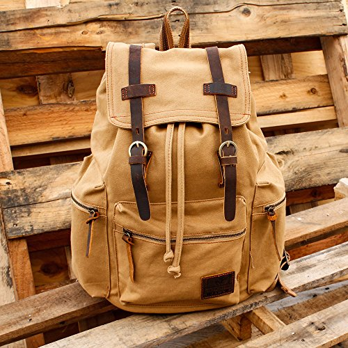 GEARONIC TM Men's Outdoor Vintage Canvas Military Shoulder Travel Hiking Camping School Bag Backpack Fit for Notebook Macbook 11 , 13, 15 inch Air Pro Laptop 2