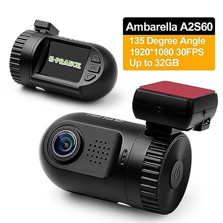 E-PRANCE Mini 0801 Ambarella Caméra de voiture avec haute résolution full HD 1080px, 30img/s, capteur OV2710 G, détection de plaque d'immatriculation, grand angle H264 et 135°, sortie HDMI/TV