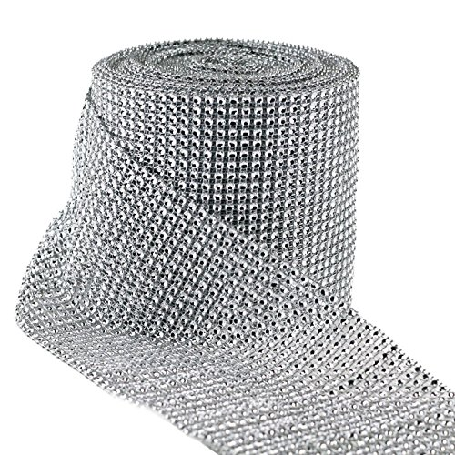 "For Sale! Diamond Mesh Wrap Roll Rhinestone Crystal Ribbon 4.5"" x 10 yards (Silver)"