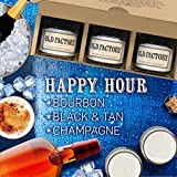 Scented Candles - Happy Hour - Set of 3: Bourbon, Black & Tan, and Champagne - 3 x 4-Ounce Soy Candles