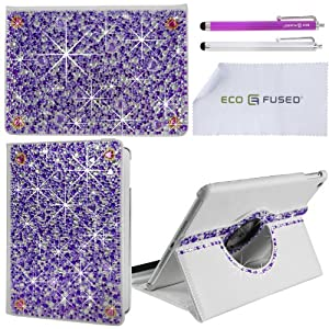 iPad Air Case - Rotating Vegan Leather Smart Case for Apple iPad Air (iPad 5) - Open to wake, Close to Sleep - Bling Rhinestone Detail is Perfect for Girls - Also Includes 2 Stylus Pens and 1 ECO-FUSED® Microfiber Cleaning Cloth (Purple)