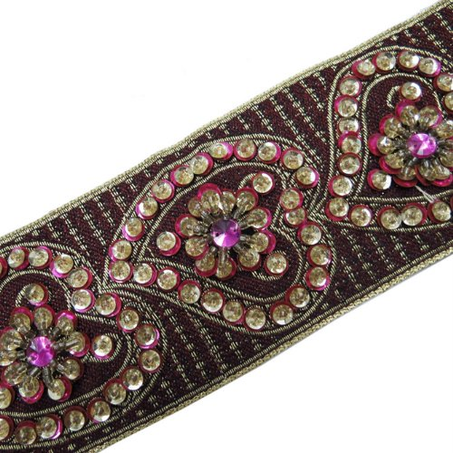 1 Yard Hand Beaded Pink Sequin Border Trim Ribbon