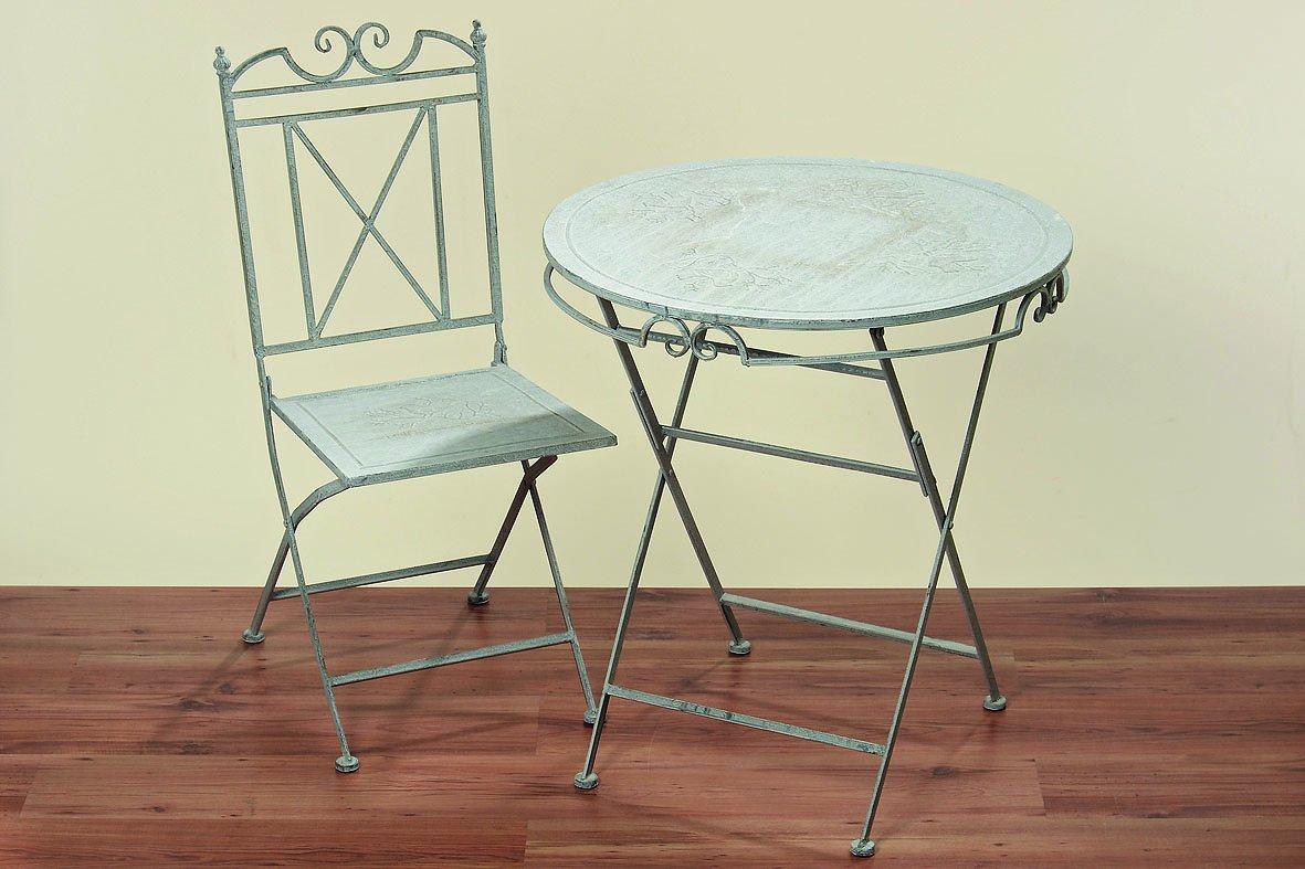 Tisch Set Jamie aus Metall ein Tisch + zwei Stühle, Farbe grau Gartenmöbel kaufen