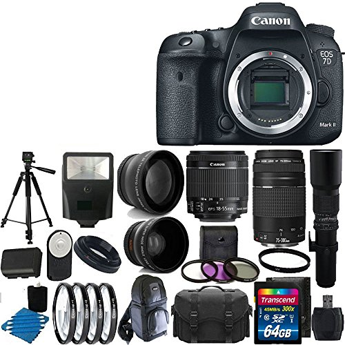 Canon EOS 7D Mark II Digital SLR Camera Bundle with Lens, Cleaning Kit and Accessory (25 Items) (Canon 7d Package compare prices)