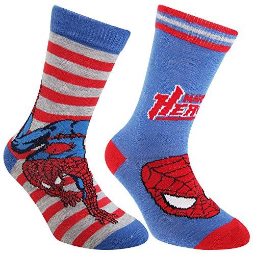 Marvel Spiderman - Calzini alla caviglia (2 paia) - Bambini (EU 23-26) (Blu)