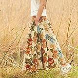 アンティーク 花柄 スカート フレアー ロング丈 麻 83㎝丈