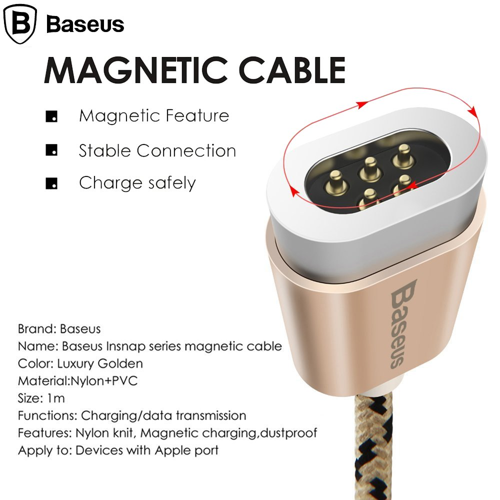 61U9bP9JLGL._SL1000_ Baseus Insnap 1M Braided Magnetic 2.4A Quick Charge & Data Sync Micro USB
