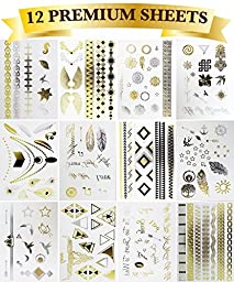 12 Premium Sheets - Metallic Flash Temporary Tattoos - Gold and Silver Bling
