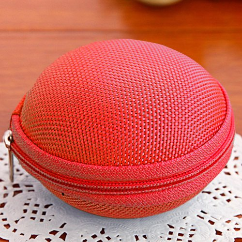 Cute Round Multifunctional Portable Hard Storage Mini Bag Case Purse Wallet For Coin Earphone Headphone Ear Buds Sd Tf Cards (Red 03)