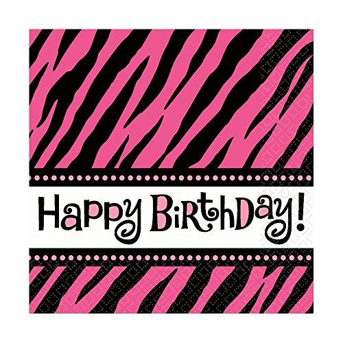 "Amscan Oh So Fabulous Zebra Birthday Celebration Lunch Napkins, 6"" x 6"", Pink/Black/White"