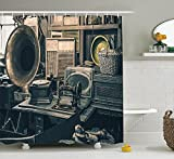 Antique Decor Collection Antique Store Inventory Old Gramophone Sewing Machine Other Early Twenty Century Stuff Image Polyester Fabric Bathroom Shower Curtain Grey