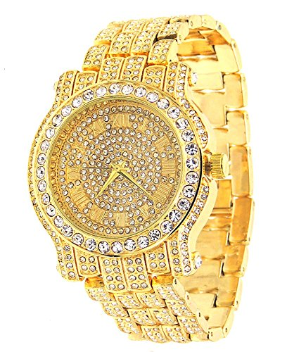 Totally Iced Out Pave Gold Tone Hip Hop Men's Bling Bing Watch (Watch Techno Watch compare prices)