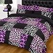 Kruger Purple Black Leopard Zebra Print Double Duvet Quilt Cover Bedding Set