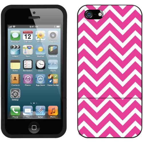Great Price Pink and White Chevron design on a Black iPhone 5s / 5 Slider Case by Coveroo