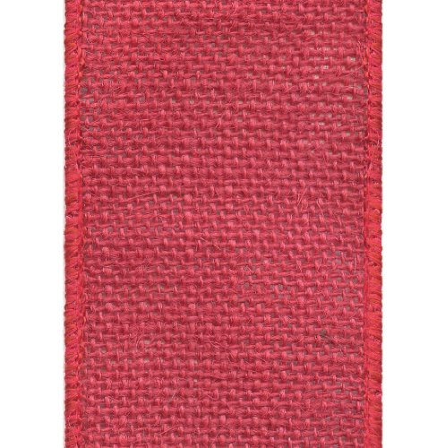 Offray Wired Edge Burlap Craft Ribbon, 2-1/2-Inch Wide by 25-Yard Spool, Red