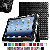 [New Release] Fintie Apple iPad 2 , iPad 3 & iPad with Retina Display Case - Knot Series Folio Vegan Leather Stand Smart Cover with Auto Wake/Sleep - Black