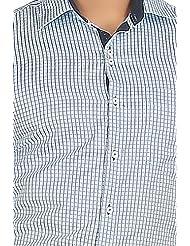 John Morris Smart Light Blue Checks Slim Fit Semi Formal Full Sleeves Shirt For Men | JM114657Q1