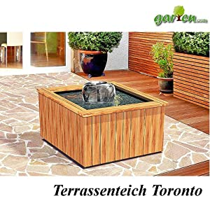 terrassenteich komplettset 39 toronto 39 inkl holzumrandung pe becken und pumpe garten. Black Bedroom Furniture Sets. Home Design Ideas