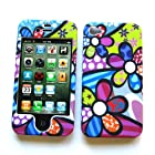 Apple iPhone 4 & 4S Rubberized Snap-On Protector Hard Case Image Cover Groovy Flowers Design