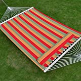Hammock Double Size Quilted Fabric Heavy Duty Sleep Bed W/Pillow + wooden stick-STRIPE-ORANGE-RED color