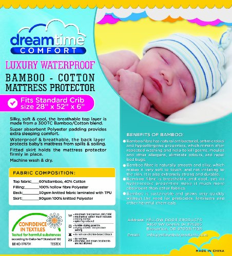 Dreamtime Comfort Crib Mattress Pad Protector-Luxury Soft 300TC Bamboo Cotton Blend Quilted Fitted Waterproof Cover-Modern Eco-Friendly Baby Cot Bedding- Cool Breathable Topper with Hypoallergenic Properties.